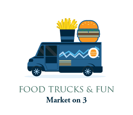 Market on 3 graphic with burger and fries food truck vector image