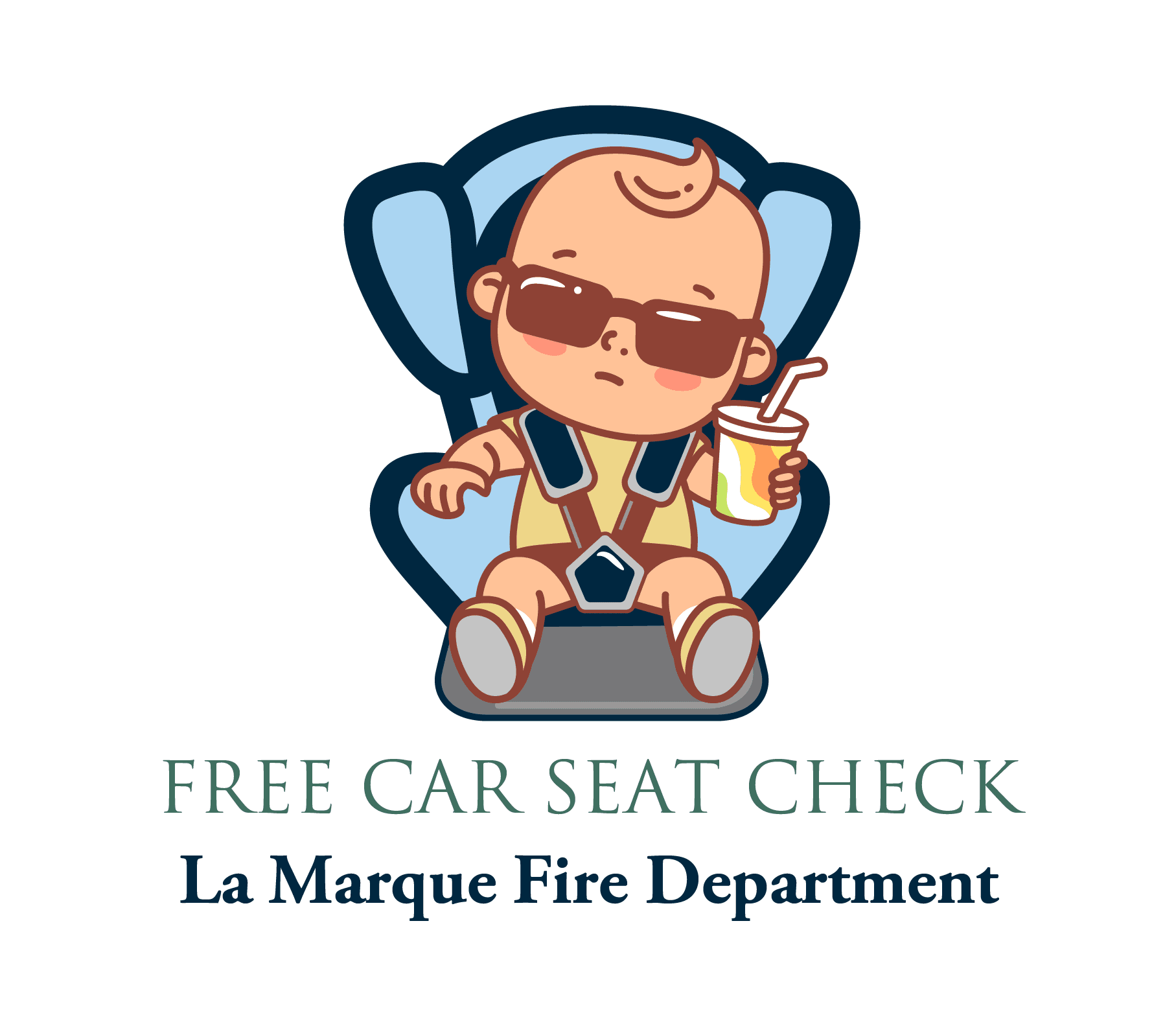 LMFD_free car seat check graphic with kid in car seat holding a drink