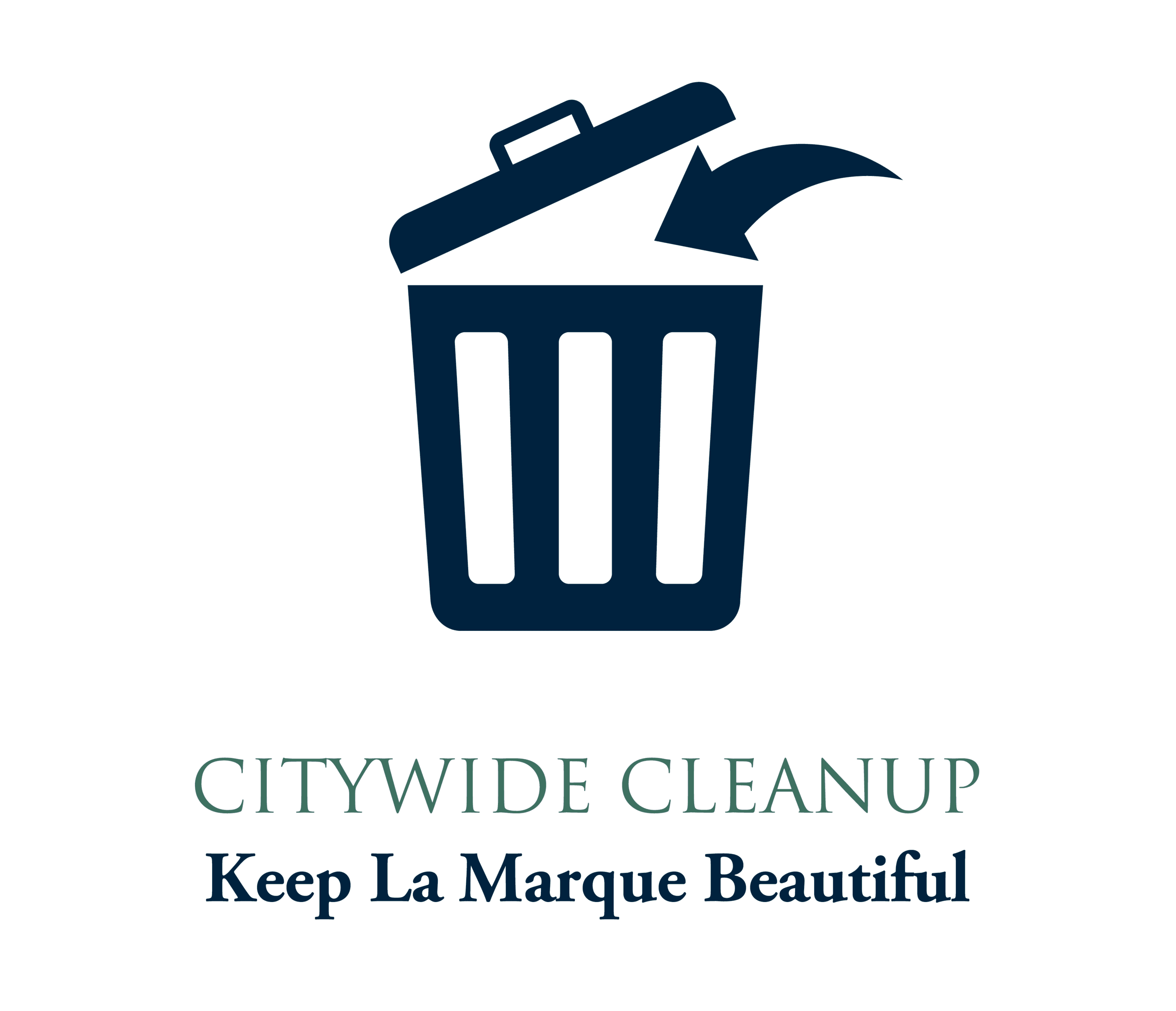 April 2020 Cleanup graphic with trash can icon