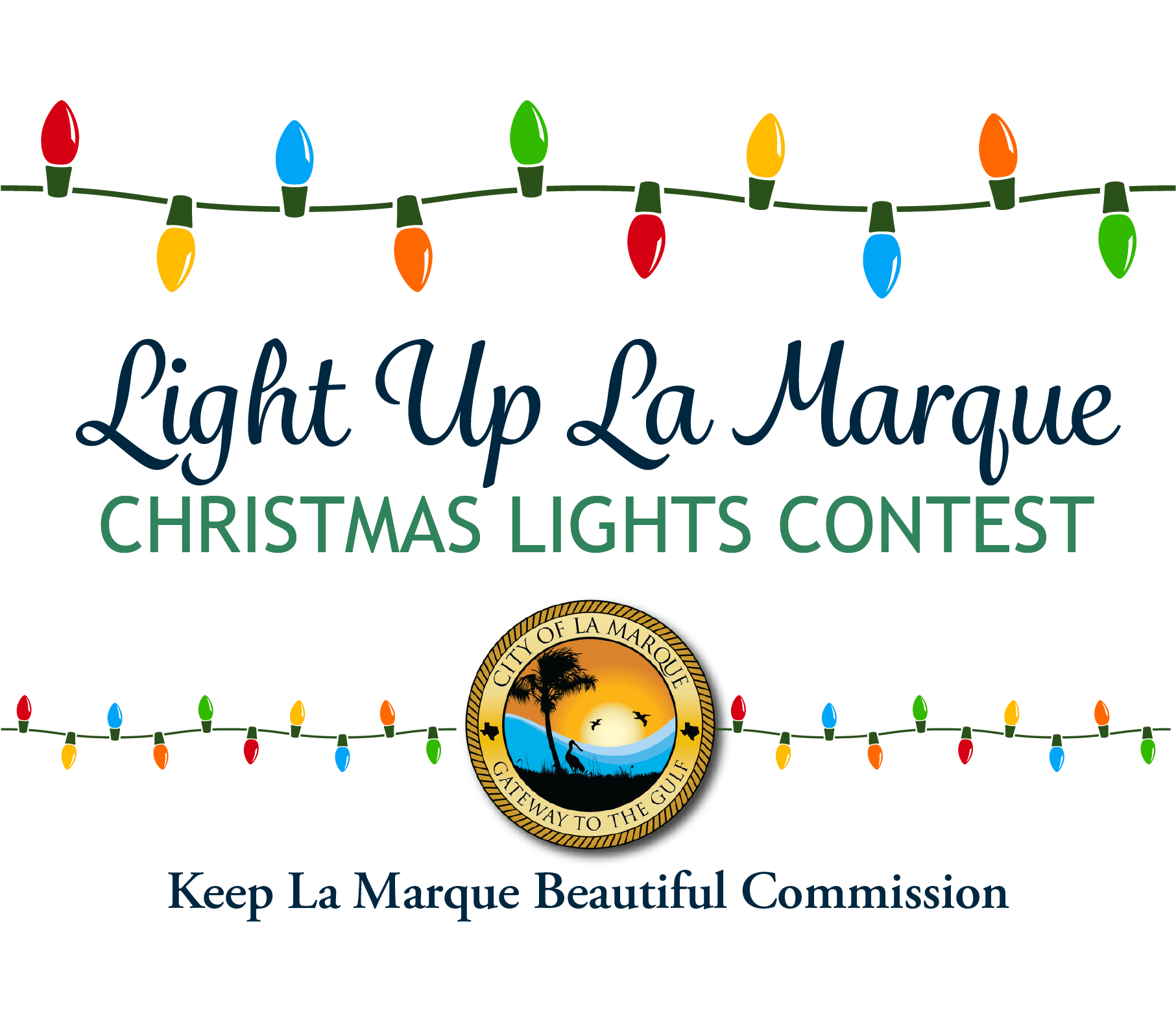 Light Up La Marque graphic with city logo and multi-colored Christmas lights