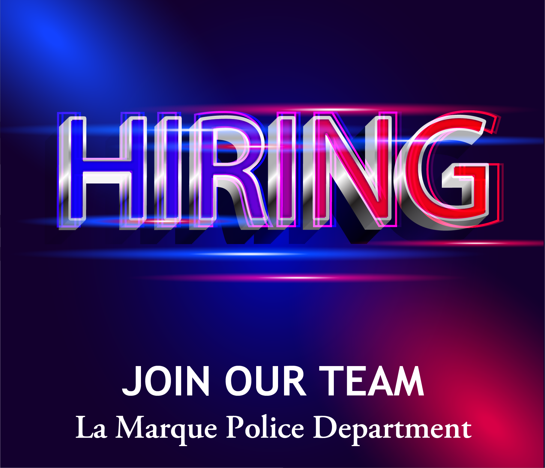 LMPD Hiring graphic with red and blue police lights