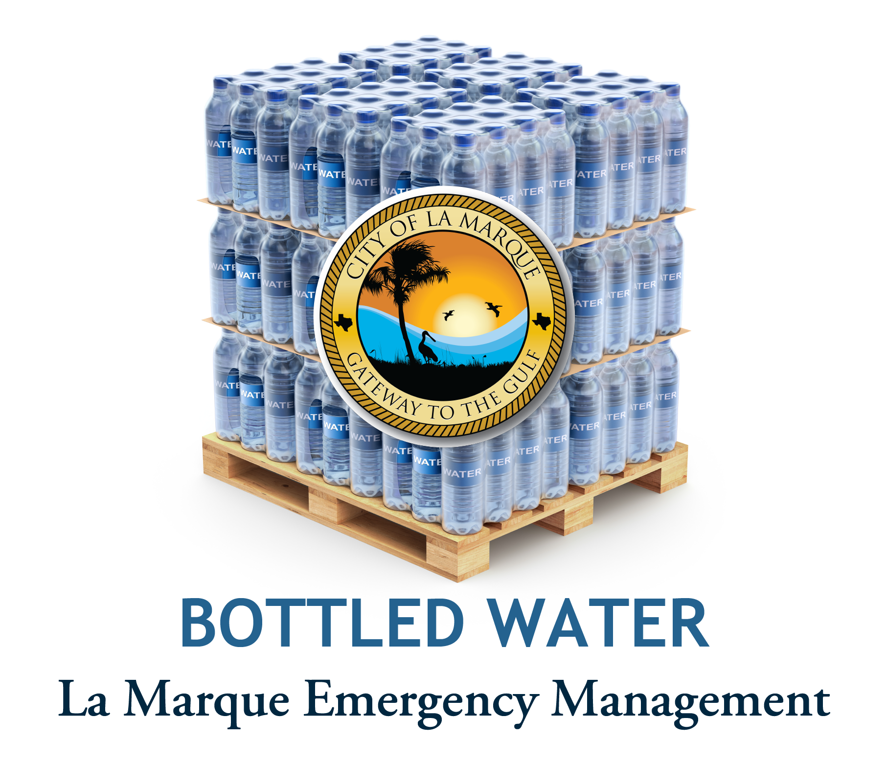 Bottled water pickup graphic showing a pallet of water with city logo