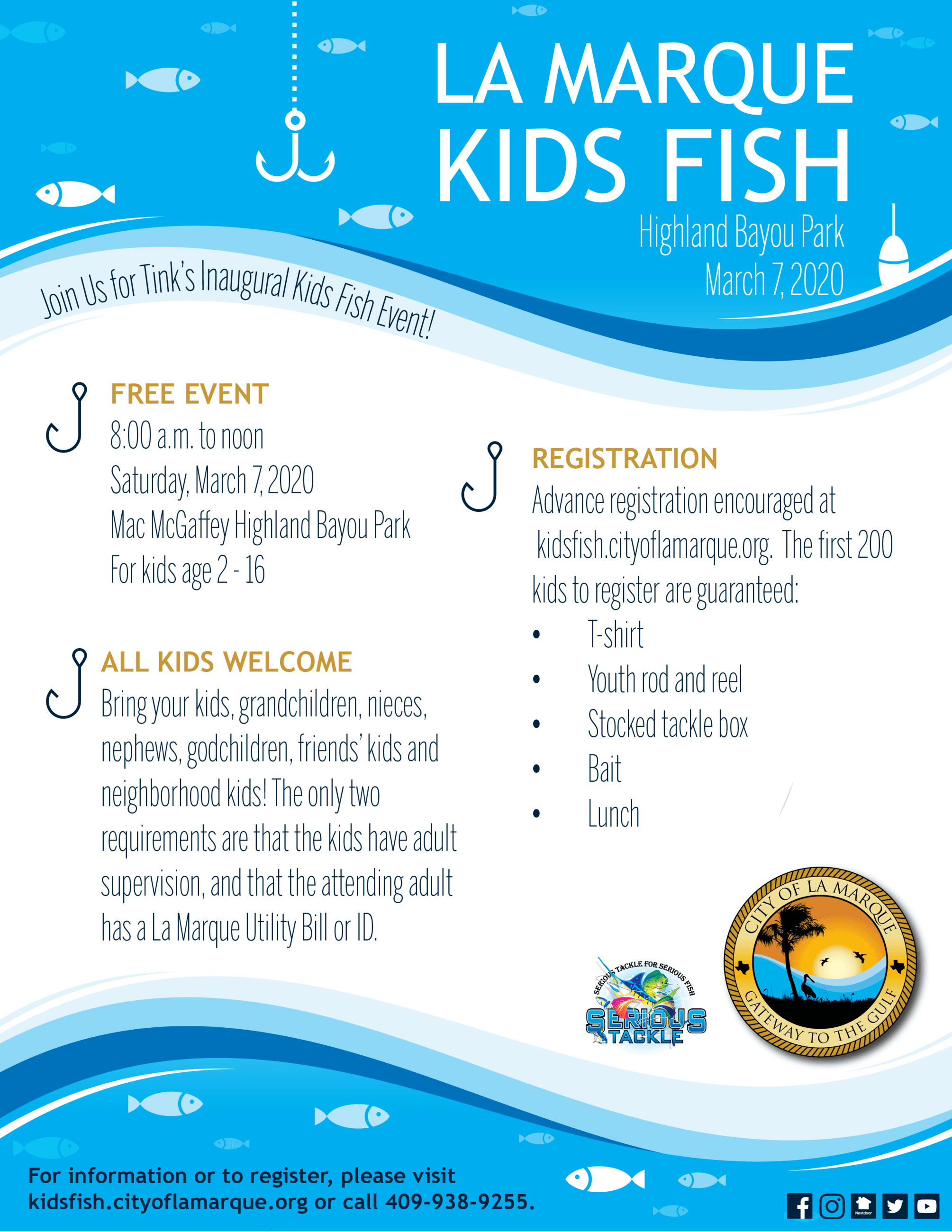 La Marque Kids Fish flyer with event details